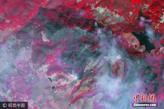 近日,美国加州Green Vally,数字地球近红外卫星图像展示的Green Vally北部山火灾区。图片来源:视觉中国