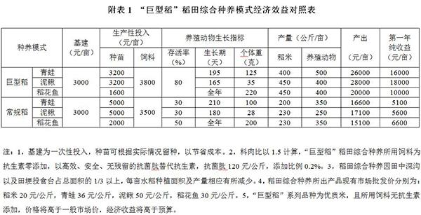 """""""巨型稻""""稻田综合种养模式经济效益对照表。"""