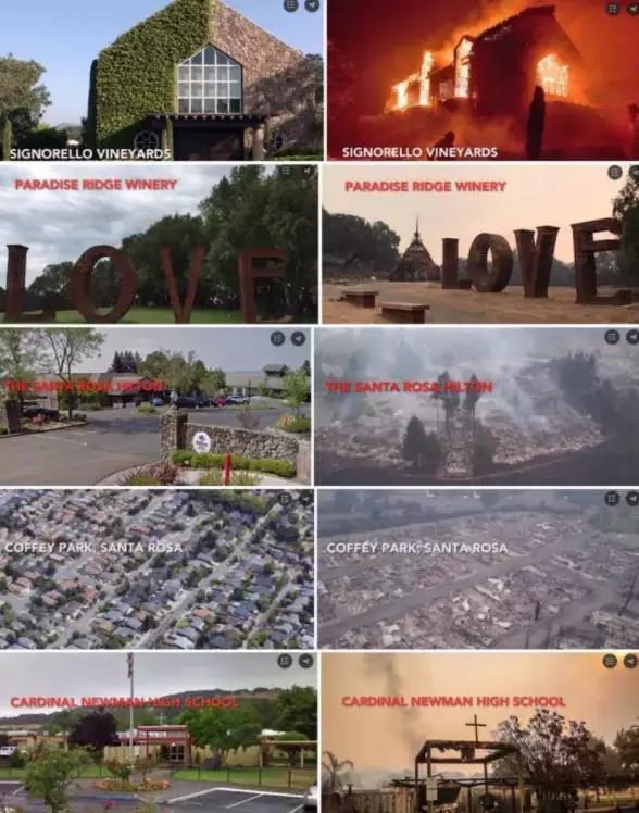 △图为一组当地媒体整理的火灾前后对比照