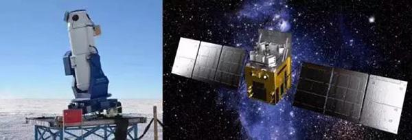(左)南极巡天望远镜AST3; (右)硬X射线调制望远镜。