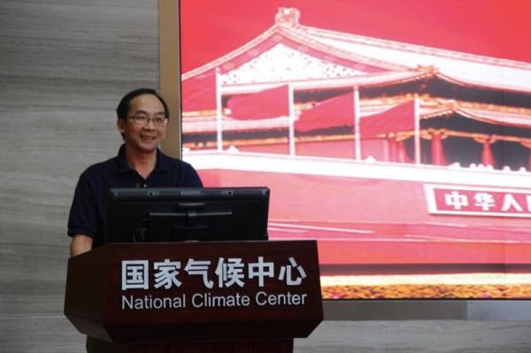 2017年8月,吴统文给国家天气中央支部委员及处级以上干部上微党课。