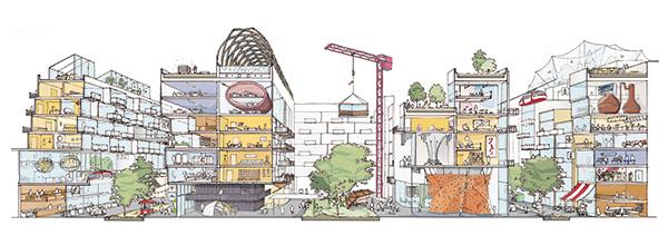 可重构的loft建筑结构让社区的不同功能区域能够混杂在一起,让生活和