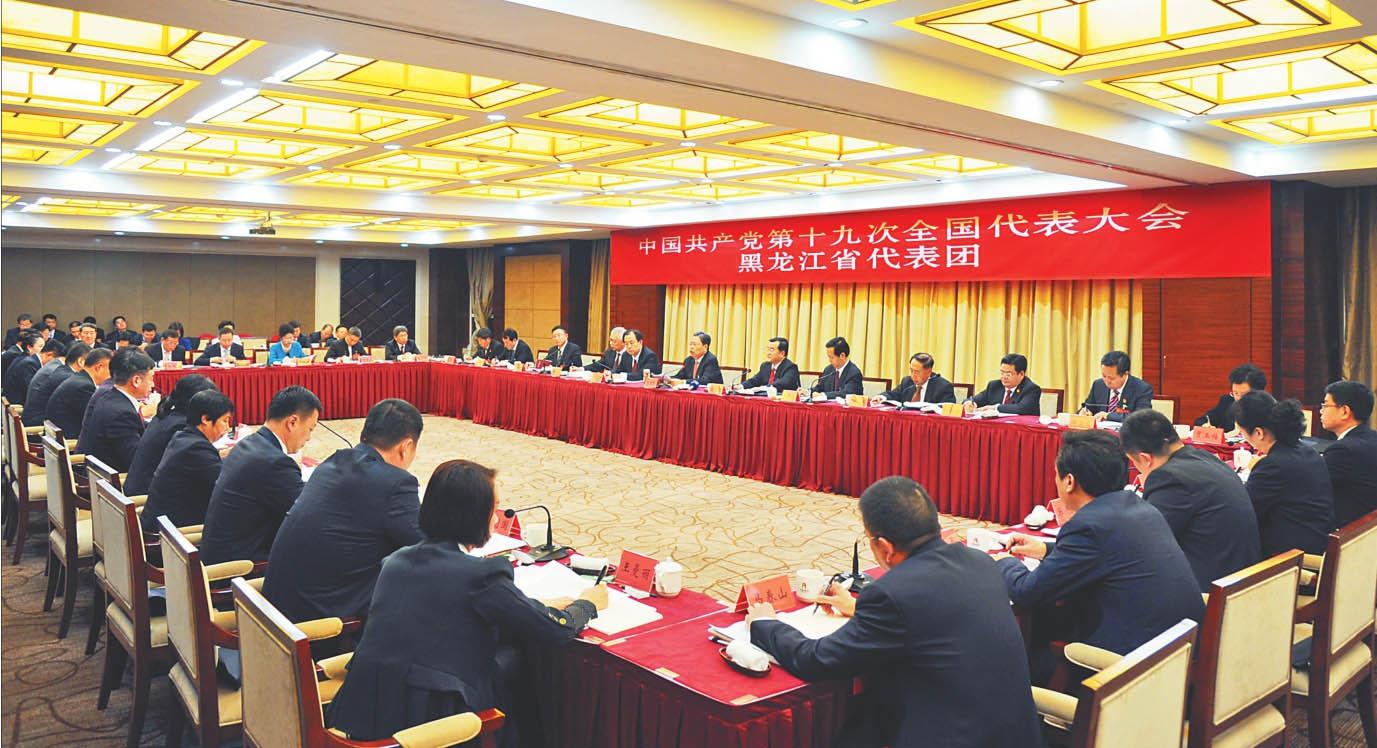 18日下战书,我省代表团在驻地集会厅召开全体集会,讨论十九大陈诉。徐旭 陈宝林 摄