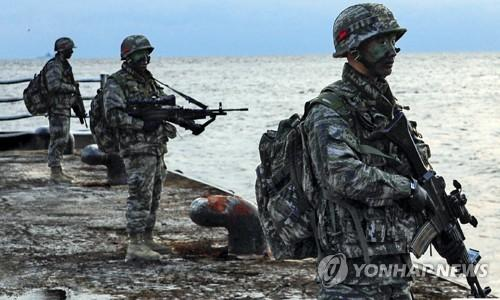 资料图片:2016年12月,在独岛防御演习中,韩国海军陆战队登上独岛。(韩联社/韩国海军陆战队机关报截图)