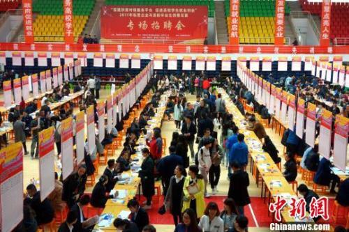 资料图:青海省组织高校结业生招聘会现场。孙睿 摄