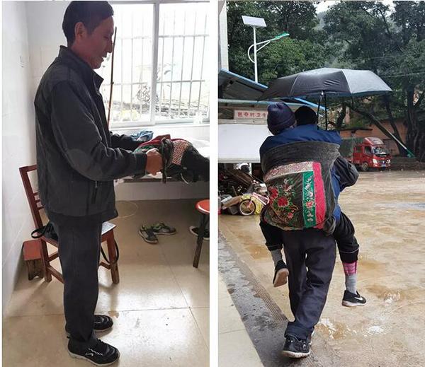 汪克武打着伞背着母亲,这块背带他本来是背家里三个孩子的襁褓。刘苏瑶 图