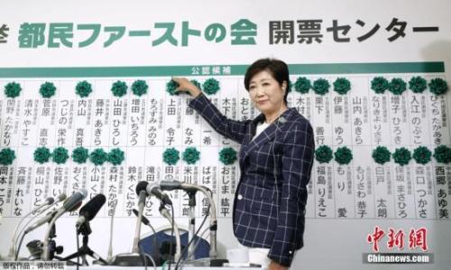 资料图:东京女知事小池百合子。