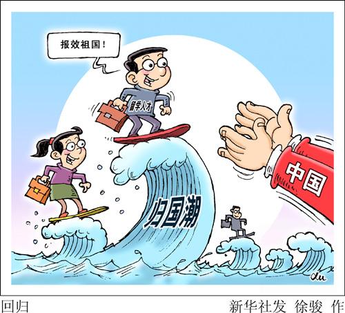 漫画:回归 新华社发 徐骏 作