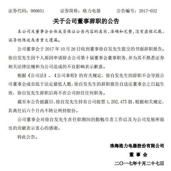 徐自发辞职公告。