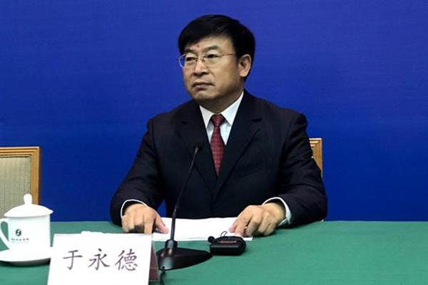 10月27日,山东省农业厅副巡视员于永德在新闻发布会上介绍相关情况。齐鲁网 图