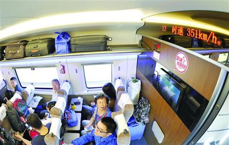 """9月21日,由北京南开往上海虹桥的G1次""""复兴号""""动车组行驶时速至350公里。 /新华社"""
