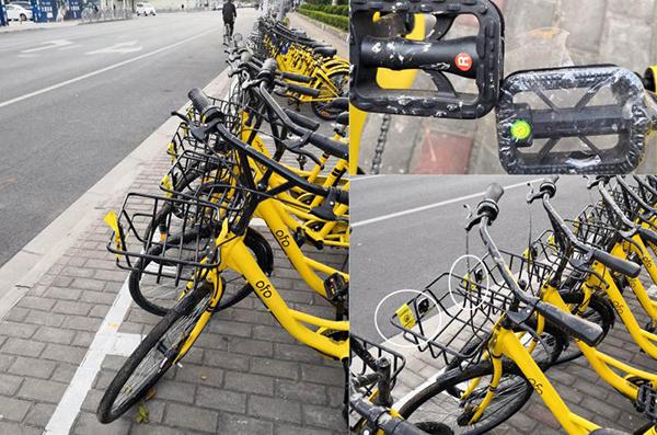 北蔡五星路莲溪路路口东侧投放的一排OFO新单车。 本文图片均来自上观新闻