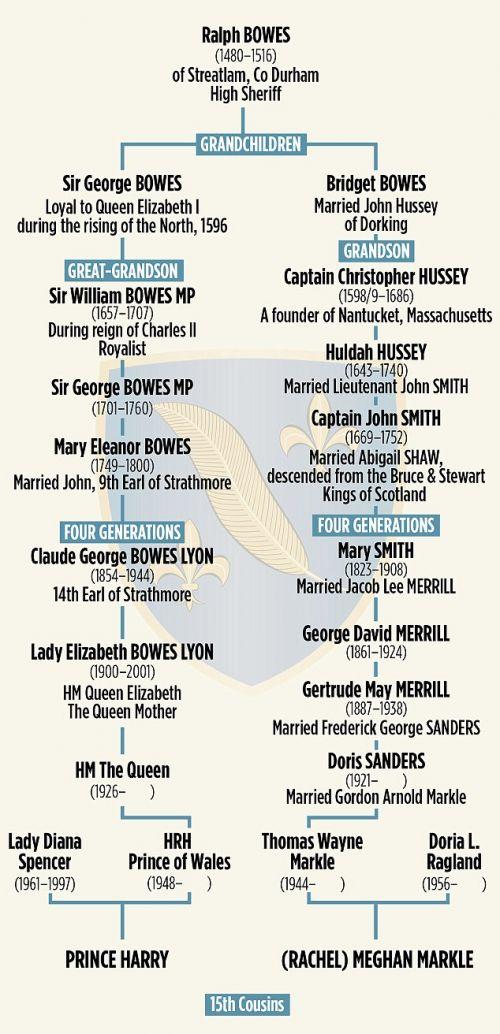 哈里王子与女友梅根·马克尔的族谱。(图片来源:《逐日邮报》)
