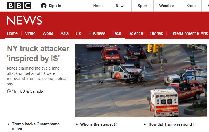 【纽约卡车恐袭嫌疑人与IS有关】纽约警方周三表示,根据现场卡车内