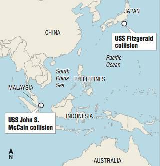"""▲图为两次撞船事故发生地点,其中""""麦凯恩""""号事故的发生地在马六甲海峡"""