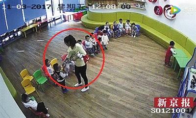 家长提供的亲子园教室内监控视频显示,一老师往一名小男孩嘴里喂不明物品,携程证实是芥末。视频截图