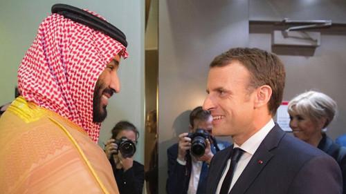 沙特王储萨勒曼与法国总统马克龙(路透)