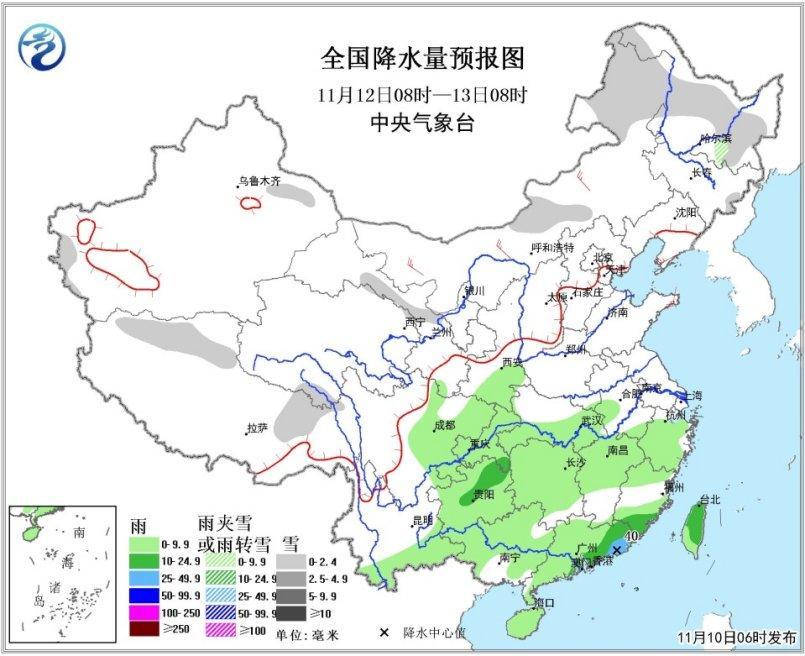 全国降水量预报图(12日08时-13日08时)