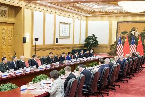 ▲11月9日,国家主席习近平在北京人民大会堂同美国总统特朗普举行会谈。