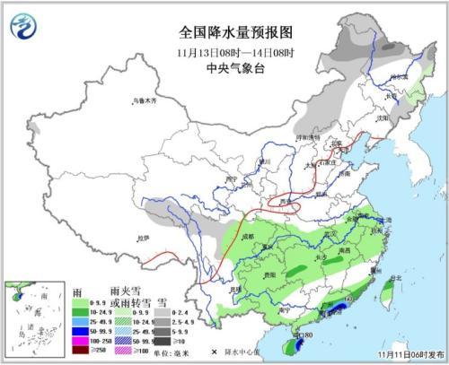 图3 全国降水量预报图(13日08时-14日08时)