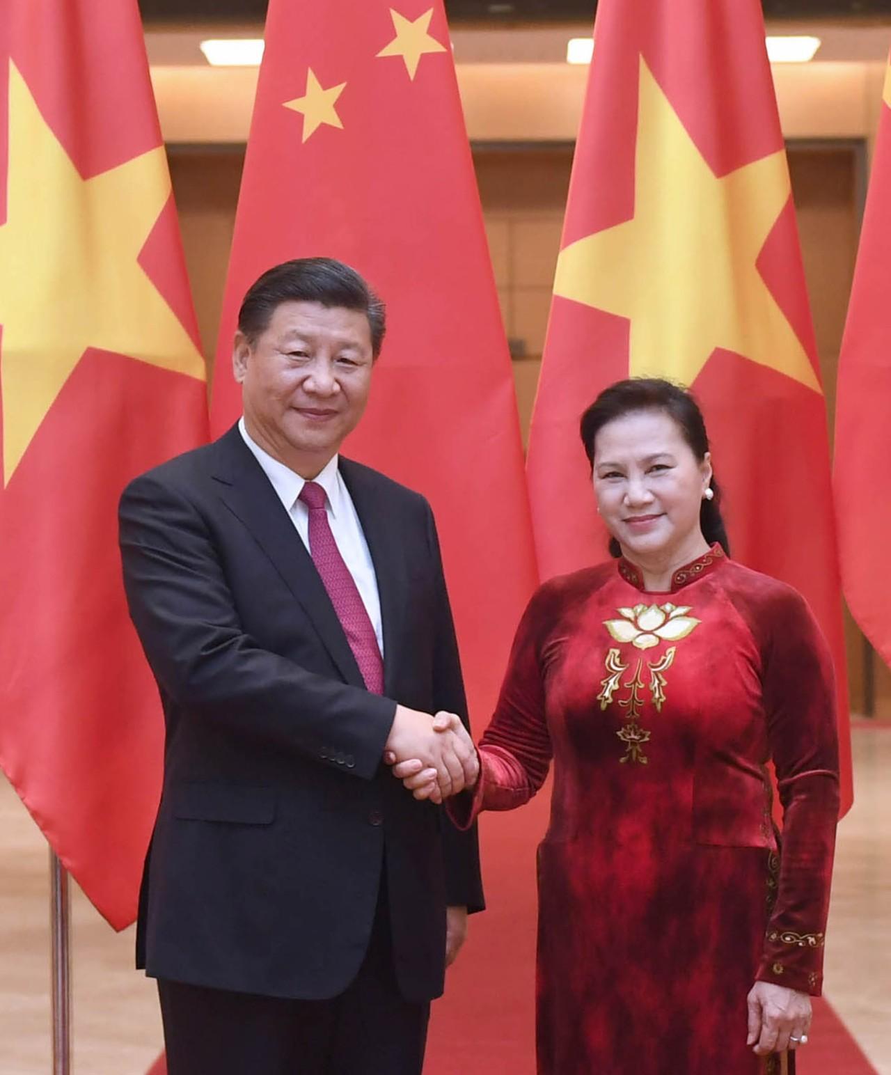 11月12日,中共中央总书记、国家主席习近平在河内会见越南国会主席阮氏金银。新华社记者张铎摄