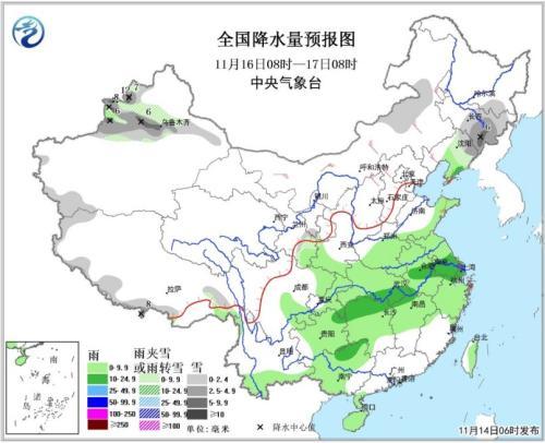 全国降水量预报图(16日08时-17日08时)