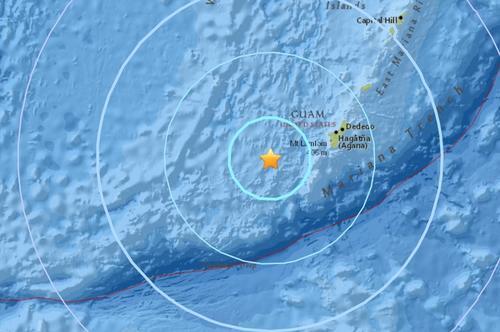 马里亚纳群岛附近海域发生5.8级地震。(图片来源:美国地质勘探局)