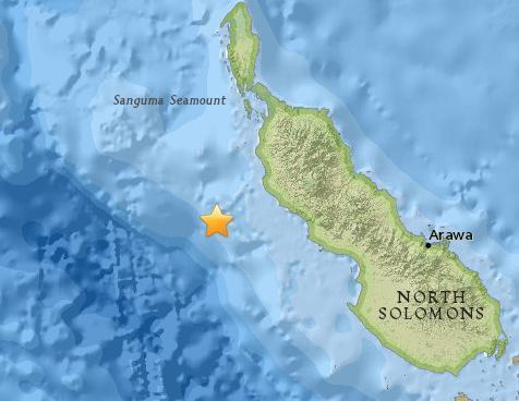 巴布亚新几内亚东部海域发生5.4级地震。(图片来源:美国地质勘探局)