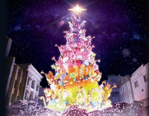 梦幻炫目!日本展出创纪录巨型光影圣诞树(图)