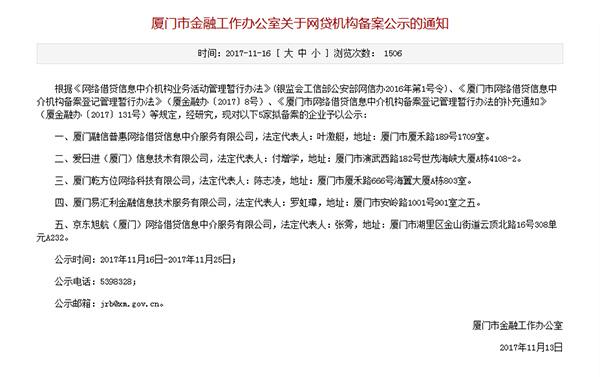 P2P备案破冰:京东入列厦门金融办公示5家拟备案平台