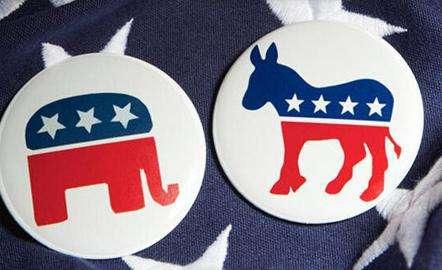 资料图:美国民主和共和两党的驴象之争