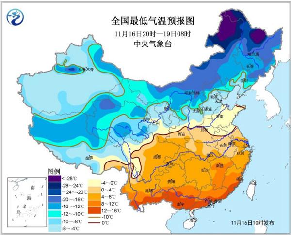 寒潮蓝色预警:吉林安徽广西等10省区降幅超12℃