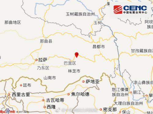 西藏林芝市巴宜区发生3.0级地震 震源深度6千米