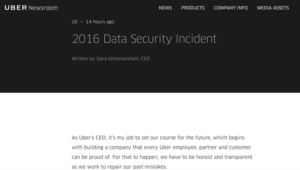 优步5700万用户数据被盗没对外披露 还给黑客交赎金