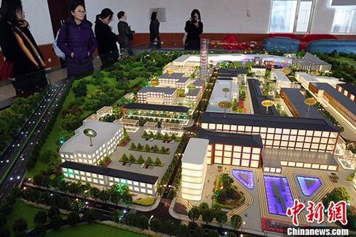 图为北京城市副中心首都国际人才港沙盘。 中新社记者 张宇 摄