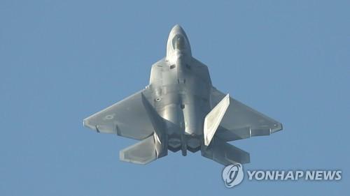 """资料图:10月21日,在韩国京畿道首尔机场,美军战机F-22""""猛禽""""亮相2017首尔国际航空航天暨军工业展览会。(图片来源:韩联社)"""