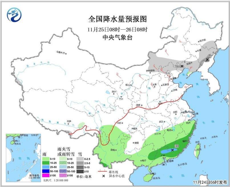 图2 天下降水量预告图(25日08时-26日08时)