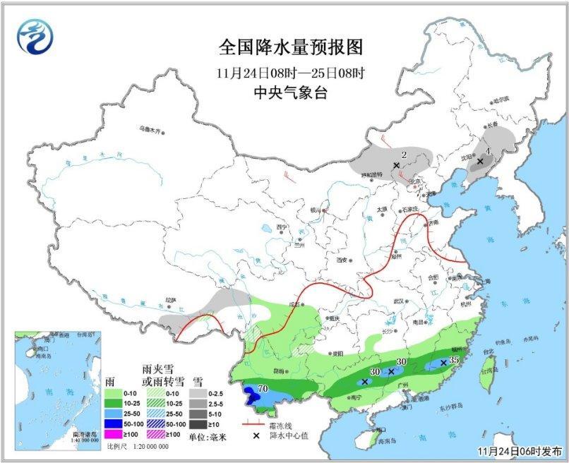 图1 天下降水量预告图(24日08时-25日08时)