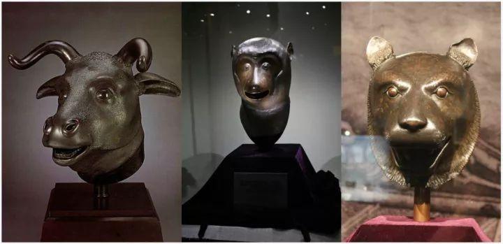 ▲圆明园12生肖兽首铜像中的牛首、猴首、虎首