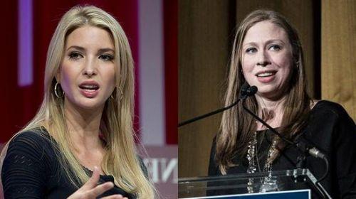 特朗普女儿伊万卡(左一)与希拉里女儿切尔西。(右一)