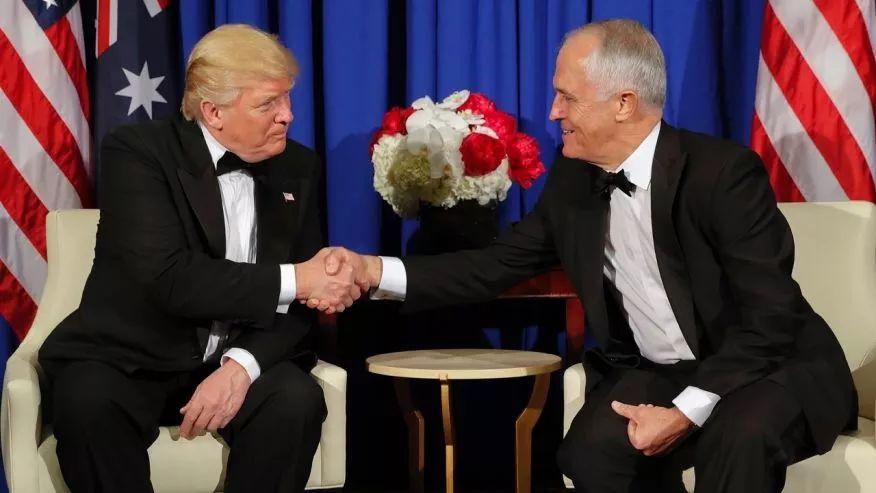 ▲资料图片:5月4日,美国总统特朗普在纽约会见了澳大利亚总理特恩布尔。(美联社)