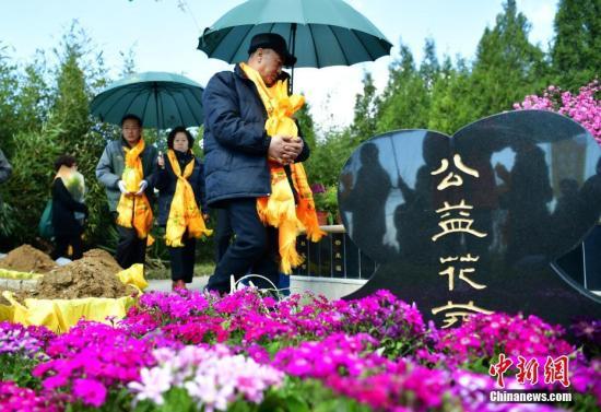质料图:在河北平山县古中山陵园生态节地葬区,20个家庭在此举办了免费集团花葬和树葬仪式。中新社记者 翟羽佳 摄