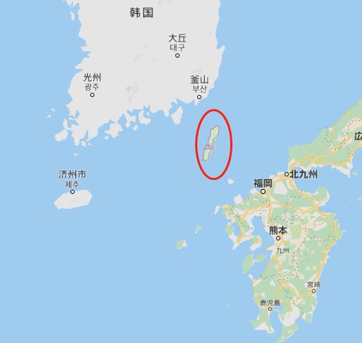红圈处为对马岛(谷歌地图)