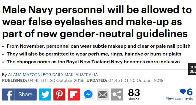 新西兰海军允许男士兵化妆:可涂指甲油戴假睫毛