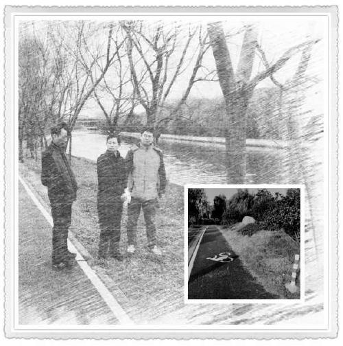 大图:民警带陈茂指认犯罪现场;小图:案发前被害人散步的路段