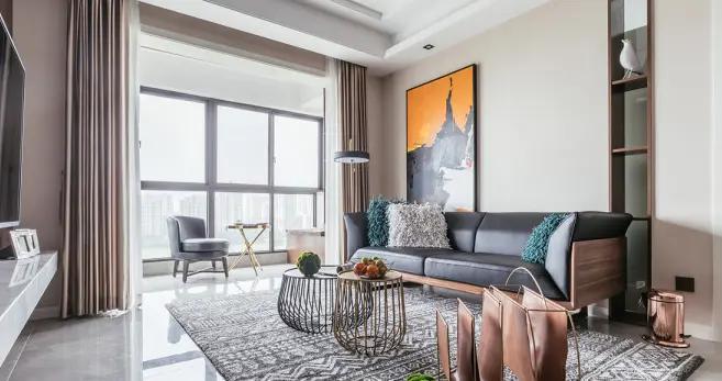 90平米三居室的现代风格案例,全包只花13万!-毕加索花园小镇装修