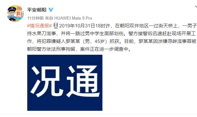 朝阳警方:一男子持刀划伤学生面