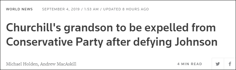 违逆约翰逊后,丘凶我之孙将被守旧党解雇 路透社