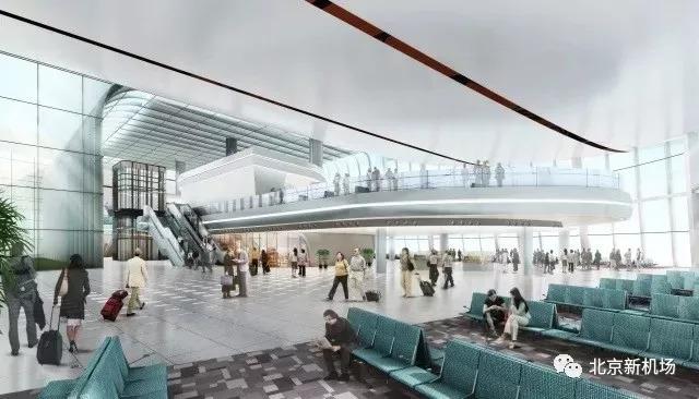 图:北京大兴国际机场航站楼东南指廊效果图,来源:北京新机场微信公众号