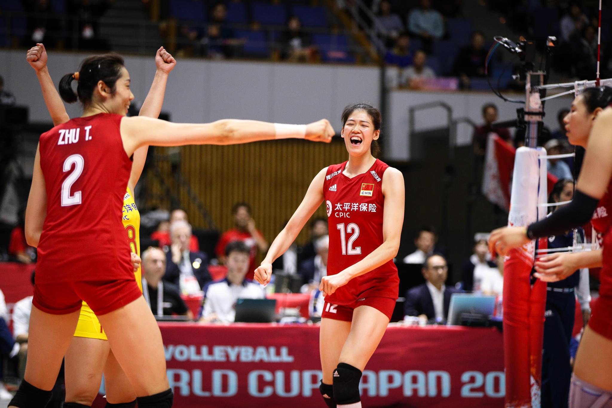 中國女排豪取世界盃六連勝。圖/國際排聯官網